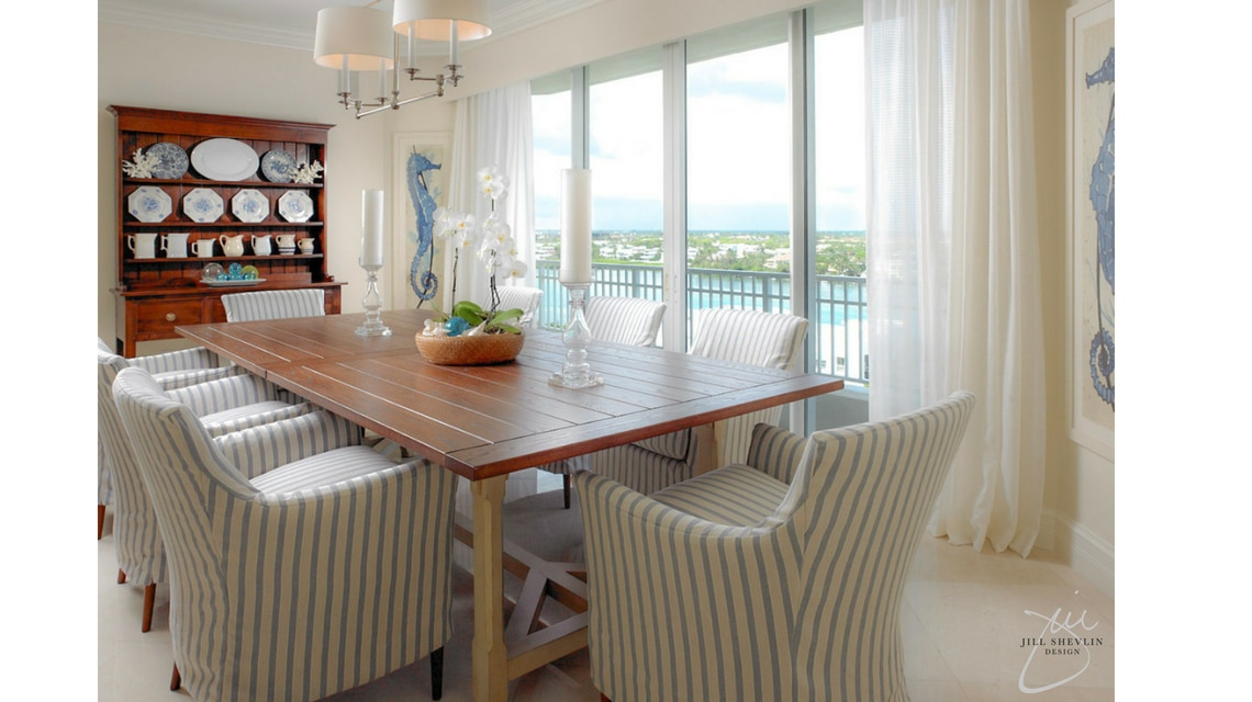 Jill Shevlin Design Vero Beach Interior Designer Jupiter Island Dining Room Blue and White Casual