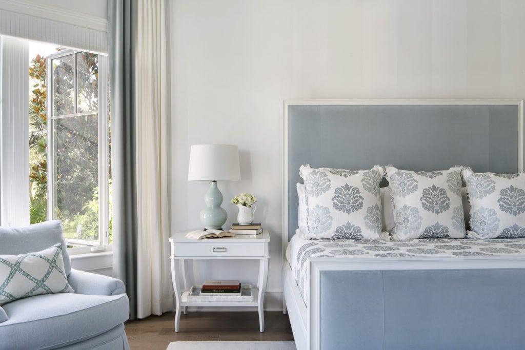 Upholstered Headboard in Blue Velvet White Wood Frame