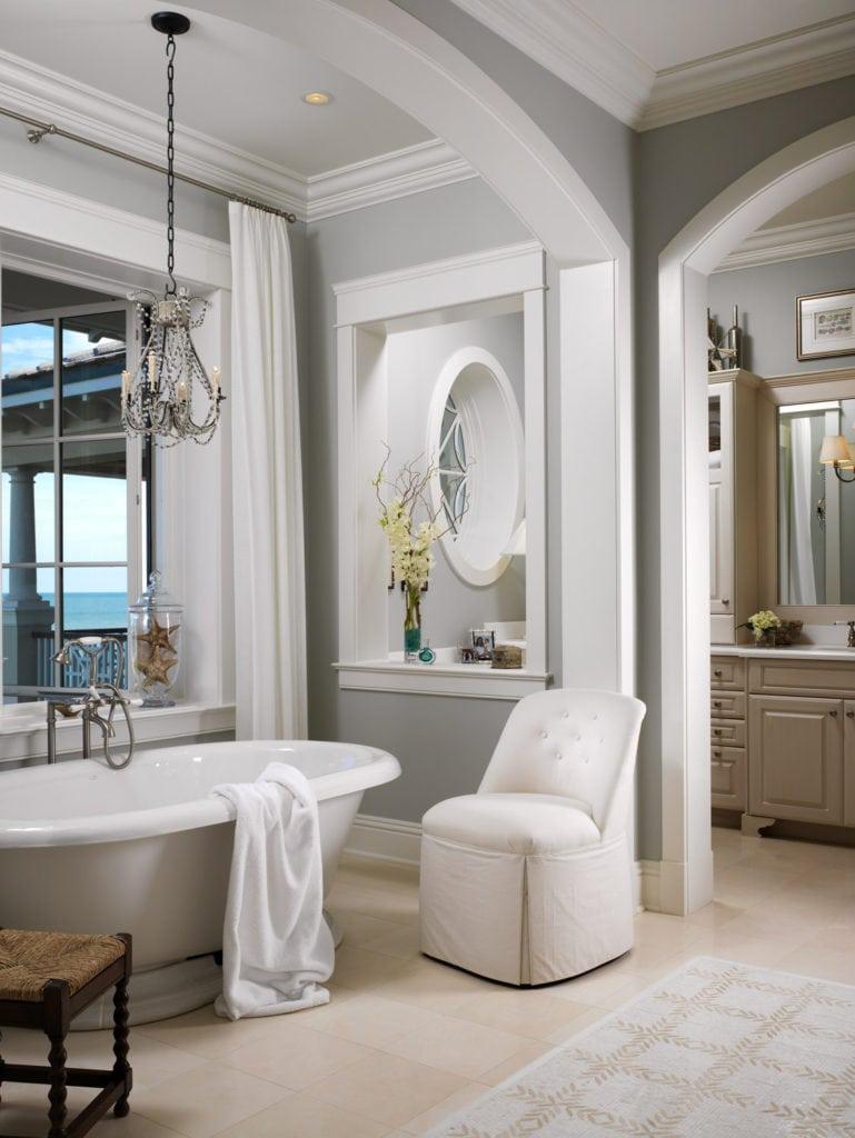 Jill Shevlin Vero Beach  Interior Designer  Master Bath with Freestanding Kohler Vintage Tub