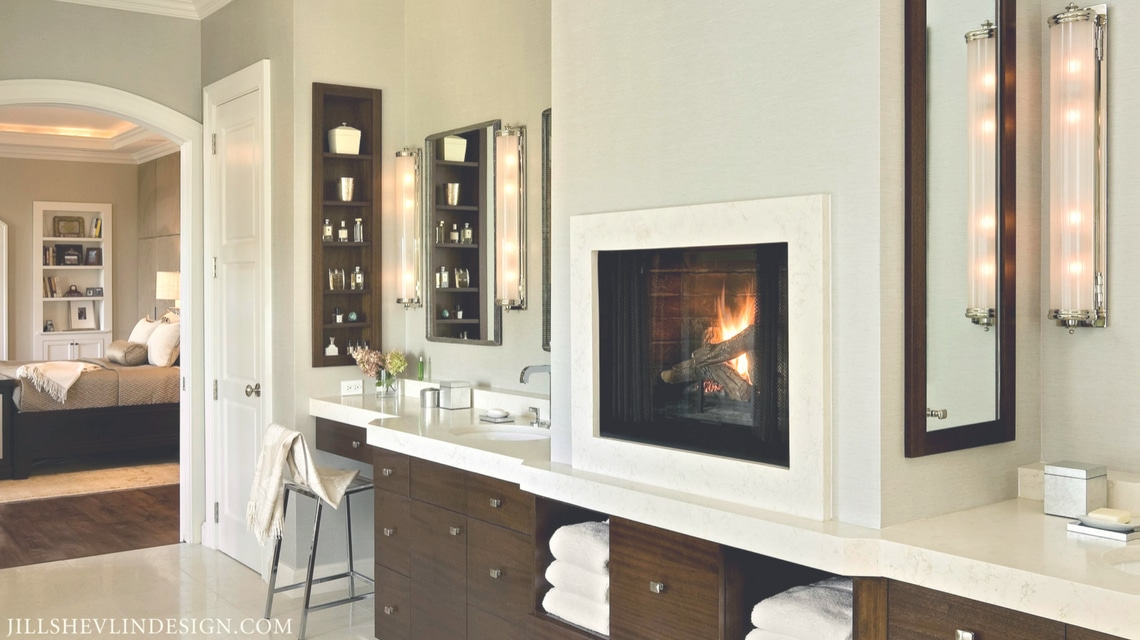 Jill Shevlin Design Master Bath Fireplace Vero Beach Interior Designer New Custom Home Construction