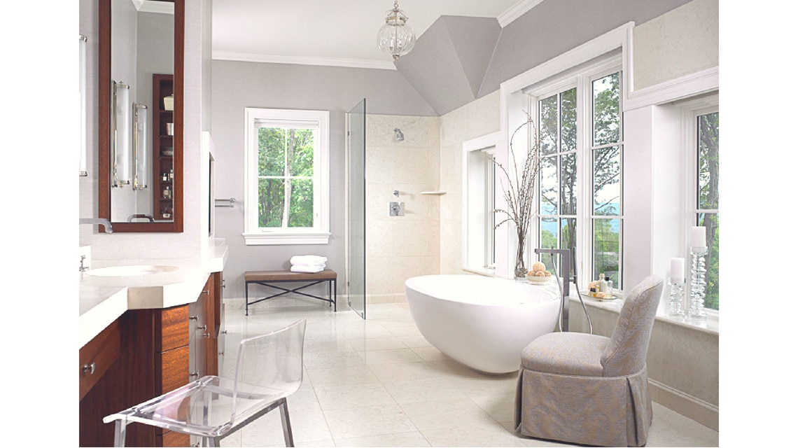 Jill Shevlin Design Master Bath with Freestanding Tub Vero Beach Interior Designer New Construction Millbrook NY