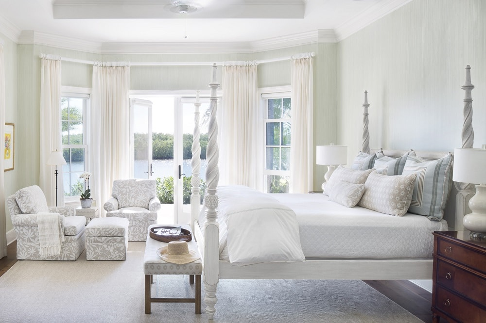 Master Bedroom with water view Jill Shevlin Design Orchid Island Vero Beach Home Renovation Master Bedroom with Water View
