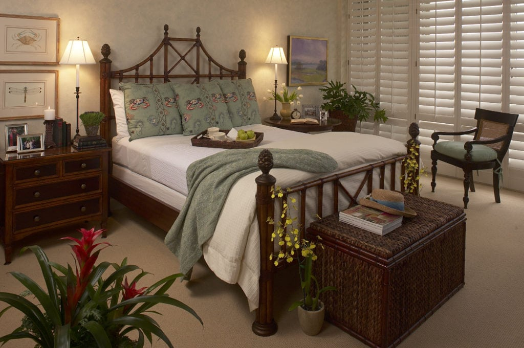 Rattan Bed with Sea Life Pillows