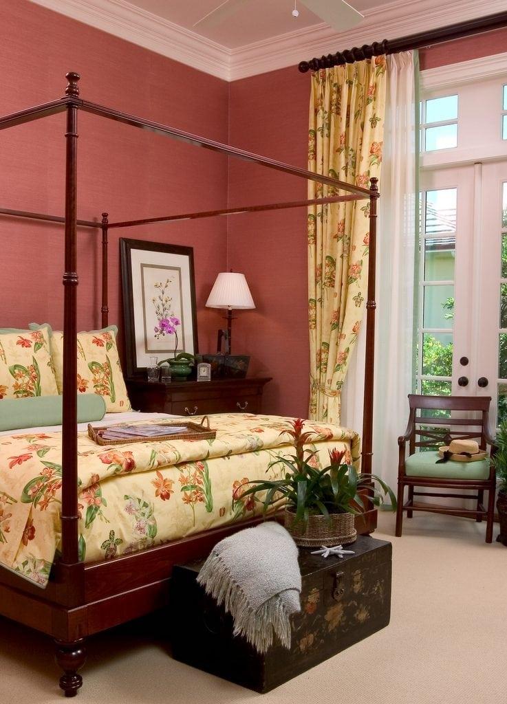 Grass Cloth walls Floral Print Bedding