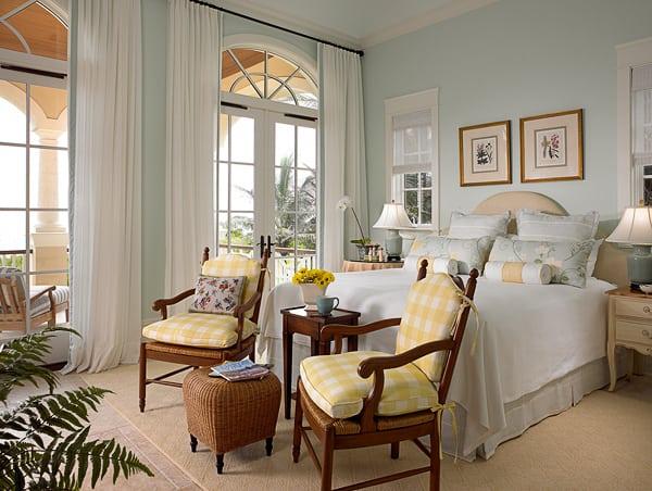 French Guest Bedroom Raffia Headboard