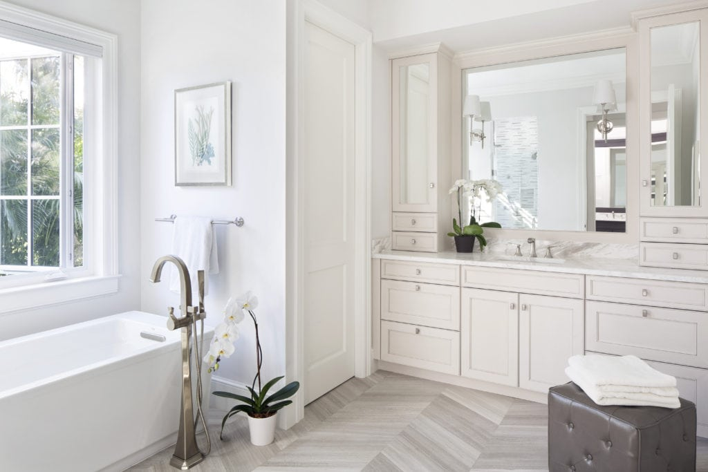 Master Bath for Her New Construction Home Orchid Island Vero Beach Jill Shevlin Design Interiors Herringbone Floors