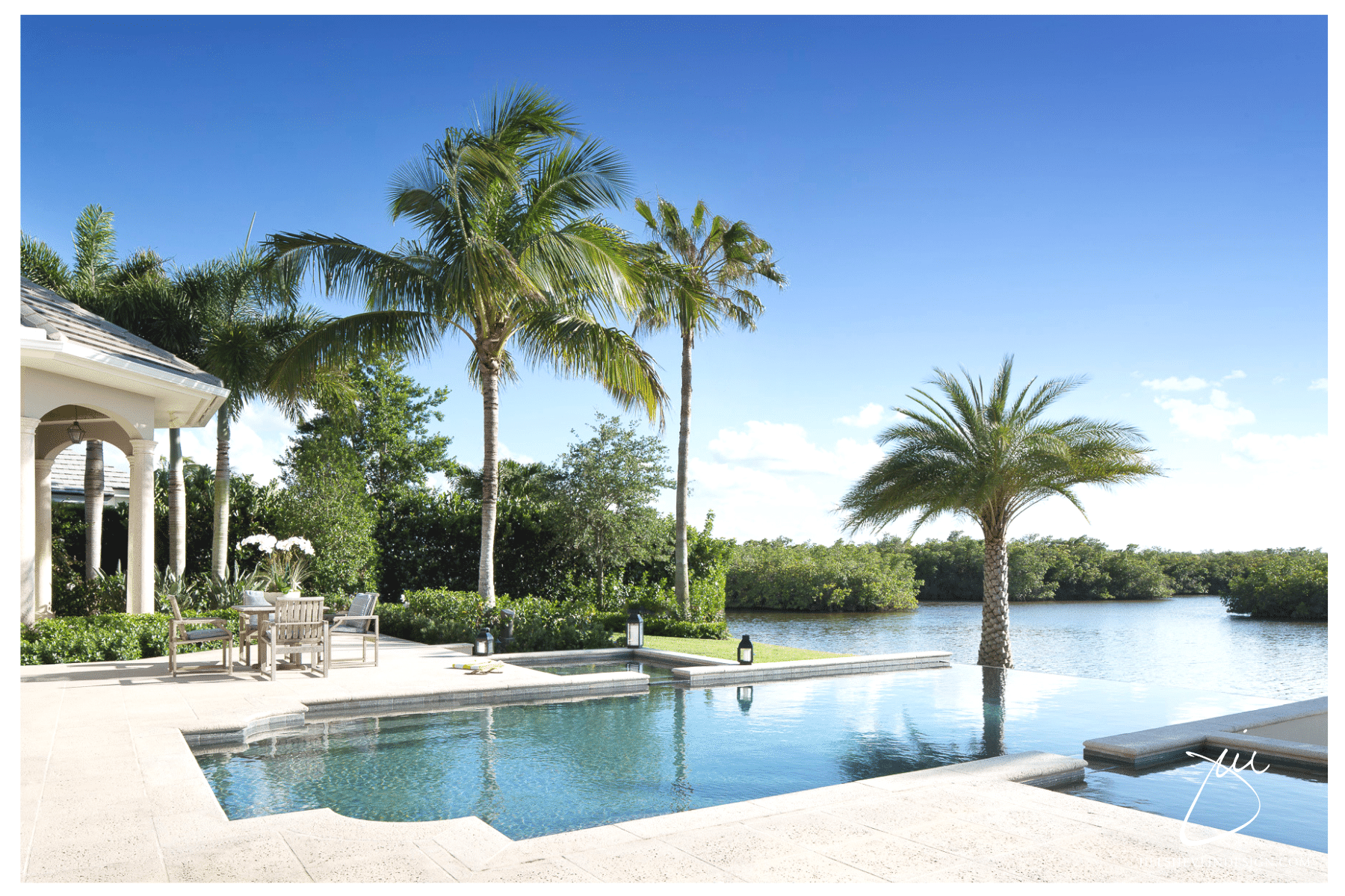 Jill Shelvin Design Creates a magical dining area poolside with a Lagoon view Vero Beach interior Designer Vero Beach Decorator