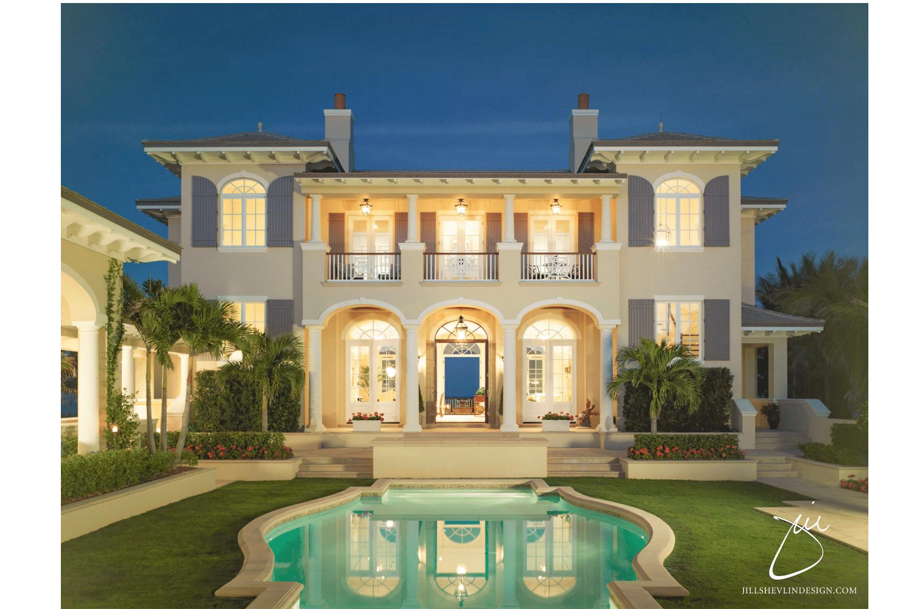 Jill shevlin Design Vero Beach Interior Designer Courtyard view of Ocean front home with grass