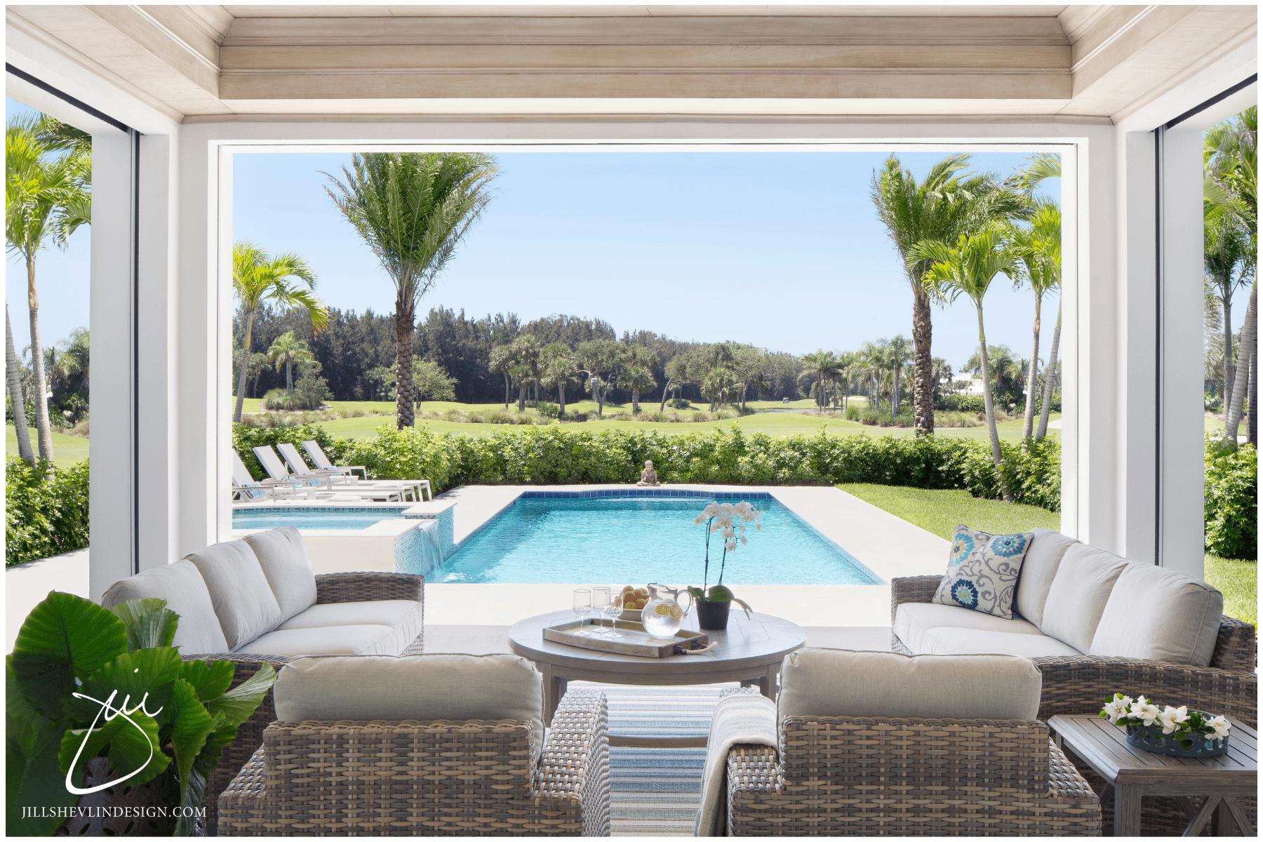 Jill Shevlin Design Vero Beach Interior Designer Creates a Casual Outdoor Living Area in a Vero Beach Golf Course Home