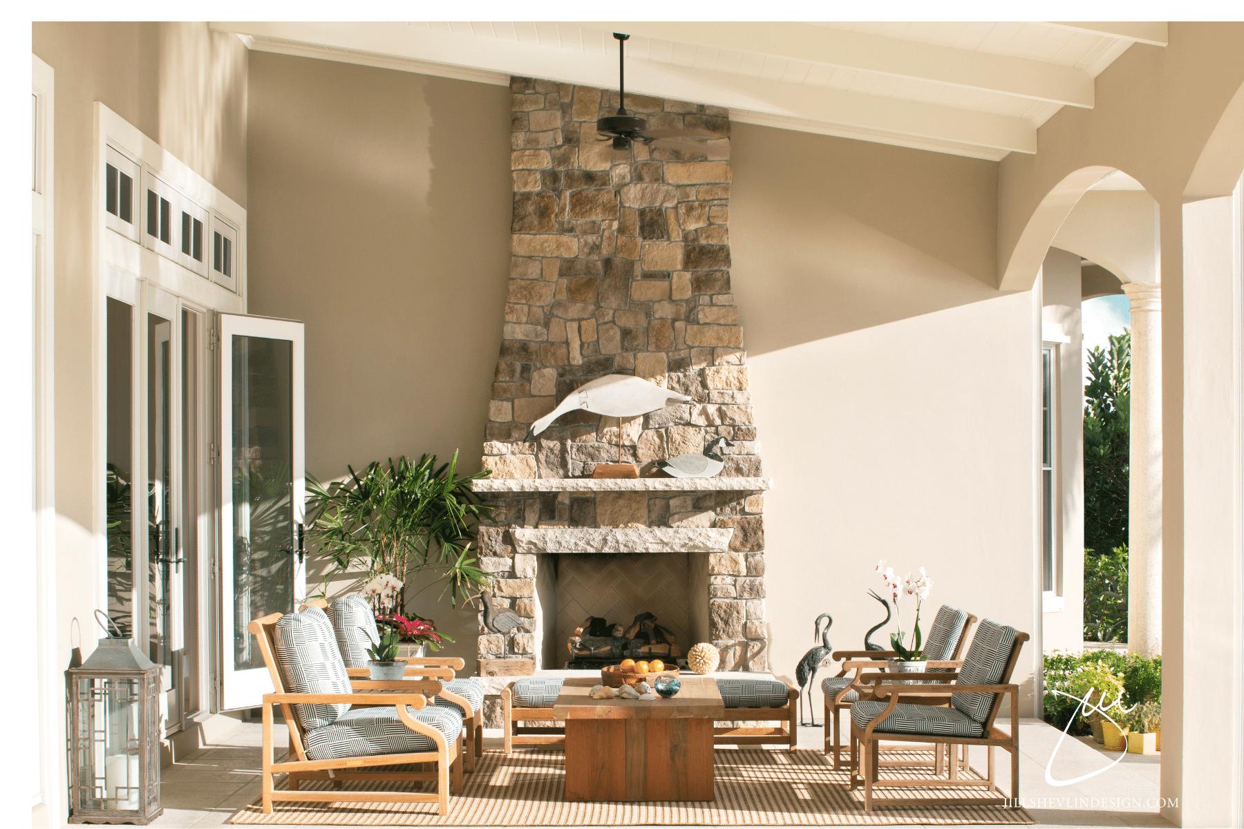 Jill Shevin Design Outdoor Living Fireplace in a Vero Beach Home Vero Beach Inteiror Designer Vero Beach Home Renovation