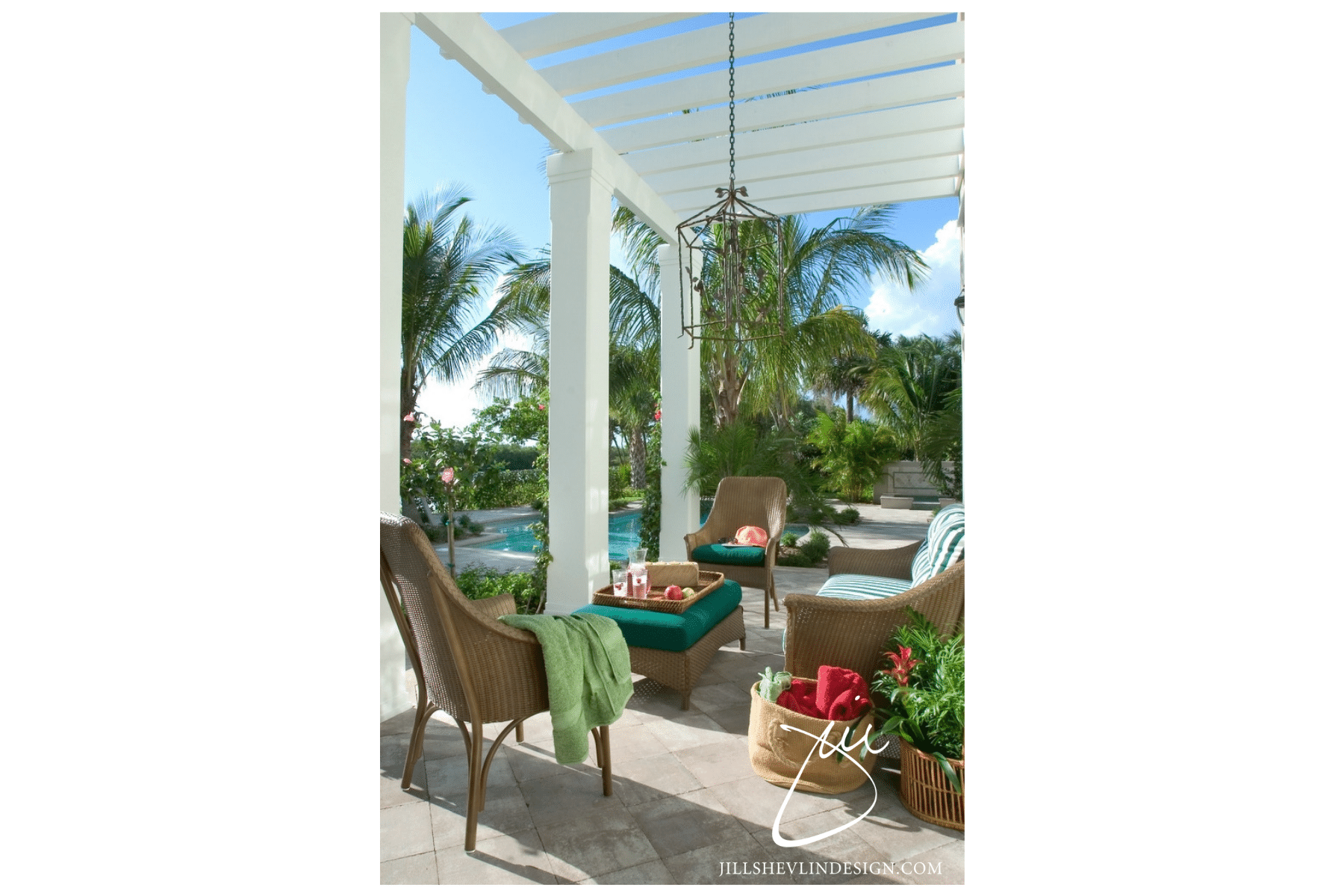 Jill Shevlin Design Vero Beach Interior Designer Creates a casual outdoor seating area pool side under a gazebo in a Vero Beach Home, Vero Beach Interior Designer