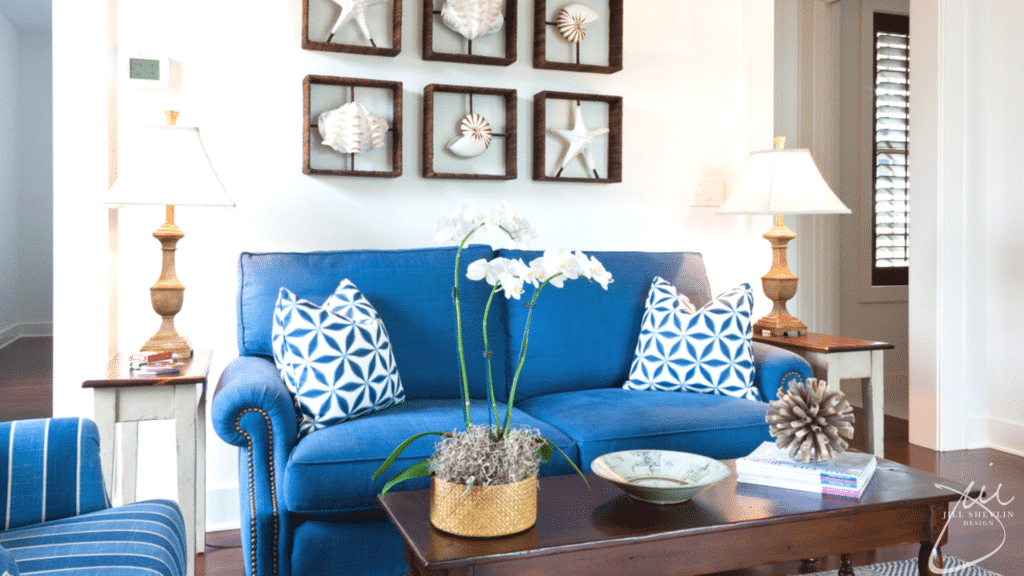 Jill Shevlin Design Navy Coastal Family Room Vero Beach Interior Designer Vero Beach Decorator