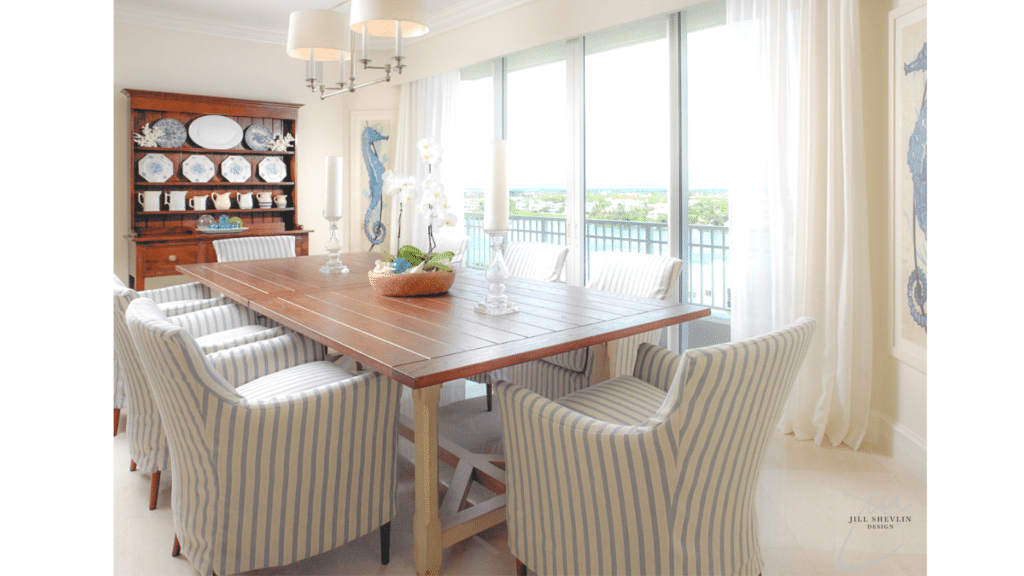Jill Shevlin Design Vero Beach Interior Designer Coastal Casual Chic Traditionl Dining Room Blue and White