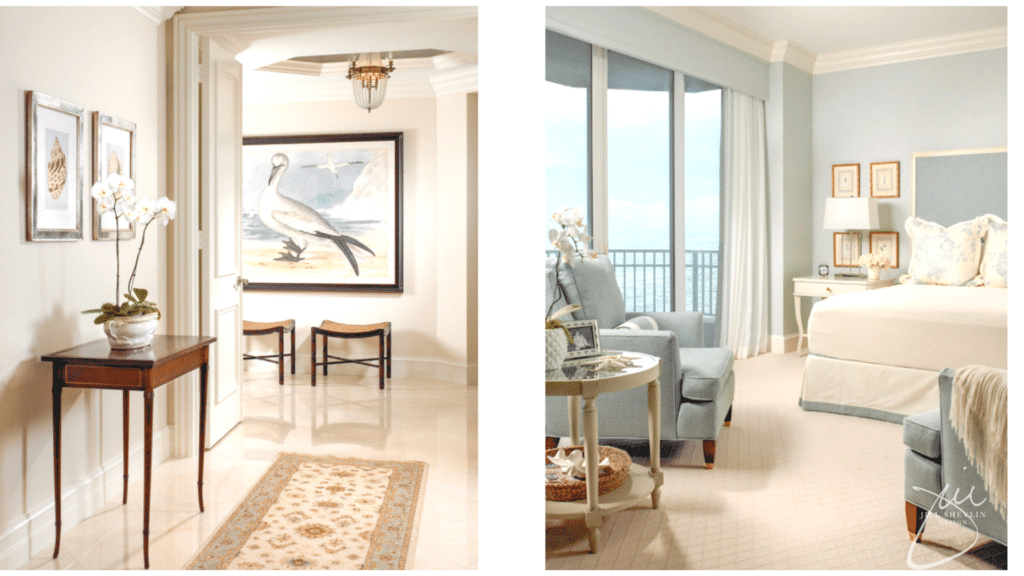 Jill Shevlin Design Coastal Hall and Bedroom Vero Beach Interior Designer Vero Beach Decorator