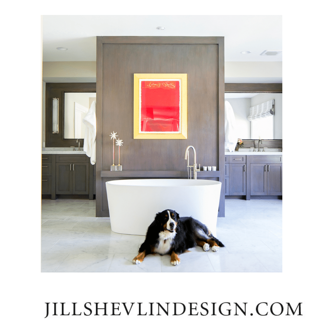 Jill Shevlin Design Rooms with Red Vero Beach  Interior Designer Bathroom Remodel with Red Modern Art
