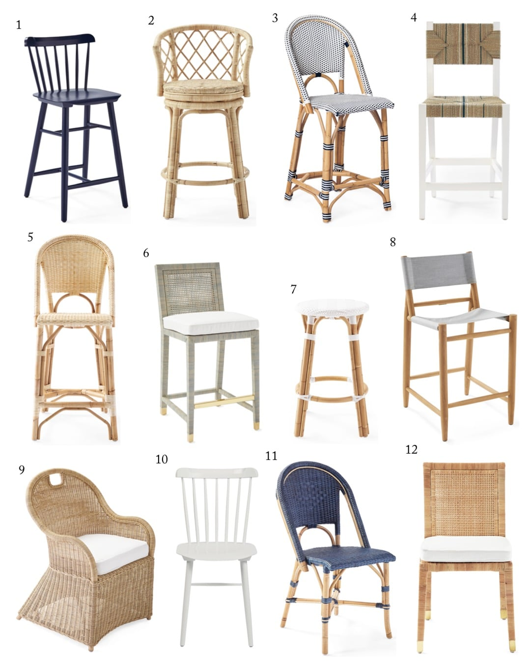 Serena & Lily Bar Stools, Counter Stools & Dining Chairs - Coastal Furniture - Coastal Bar Stools & Counter Stools