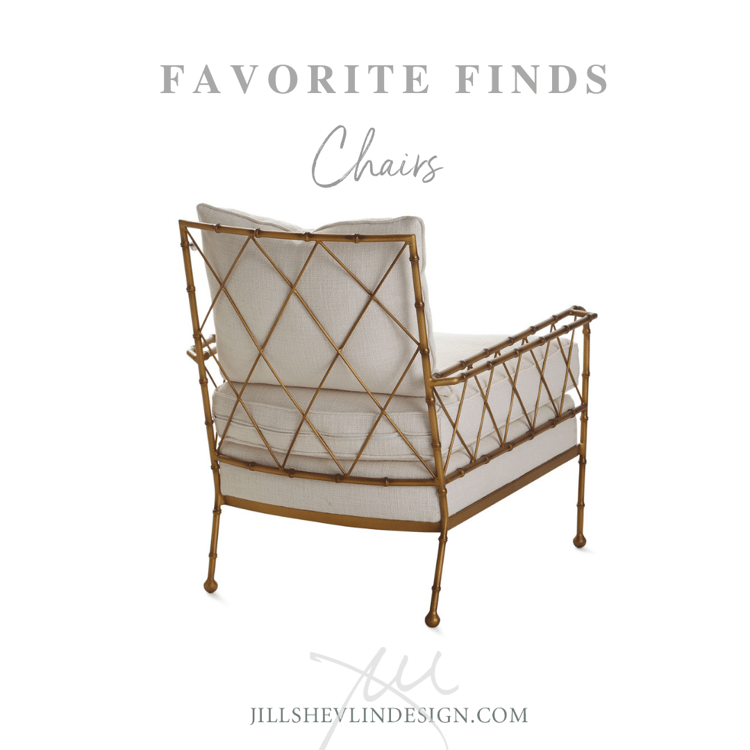 Gold Metal Accent Chair With Loose  Cushions shop designer home furniture jill shevlin design vero beach