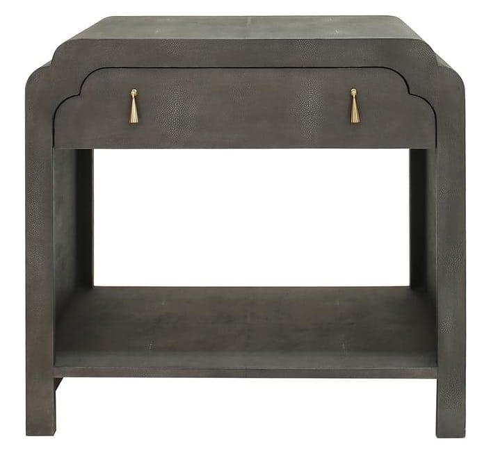 Grey Faux Skin Night stand Curved Drawer shop Home furnishings vero Beach jill shelvin design