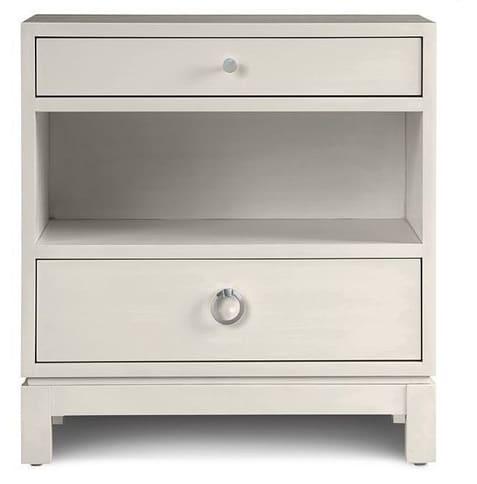 Two drawer night stand linen white versitle shop bedroom furniture vero beach jill shevlin design