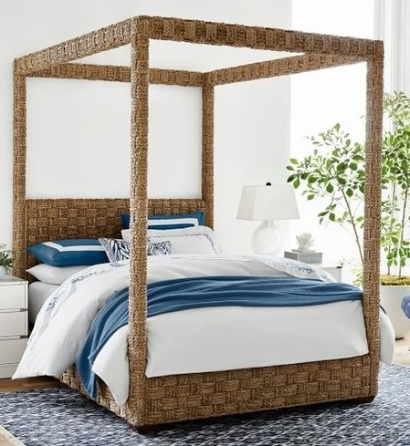 Woven Four Poster Bed Shop Coastal Home Decor Vero Beach Interior Designer Jill shelvin Design 2
