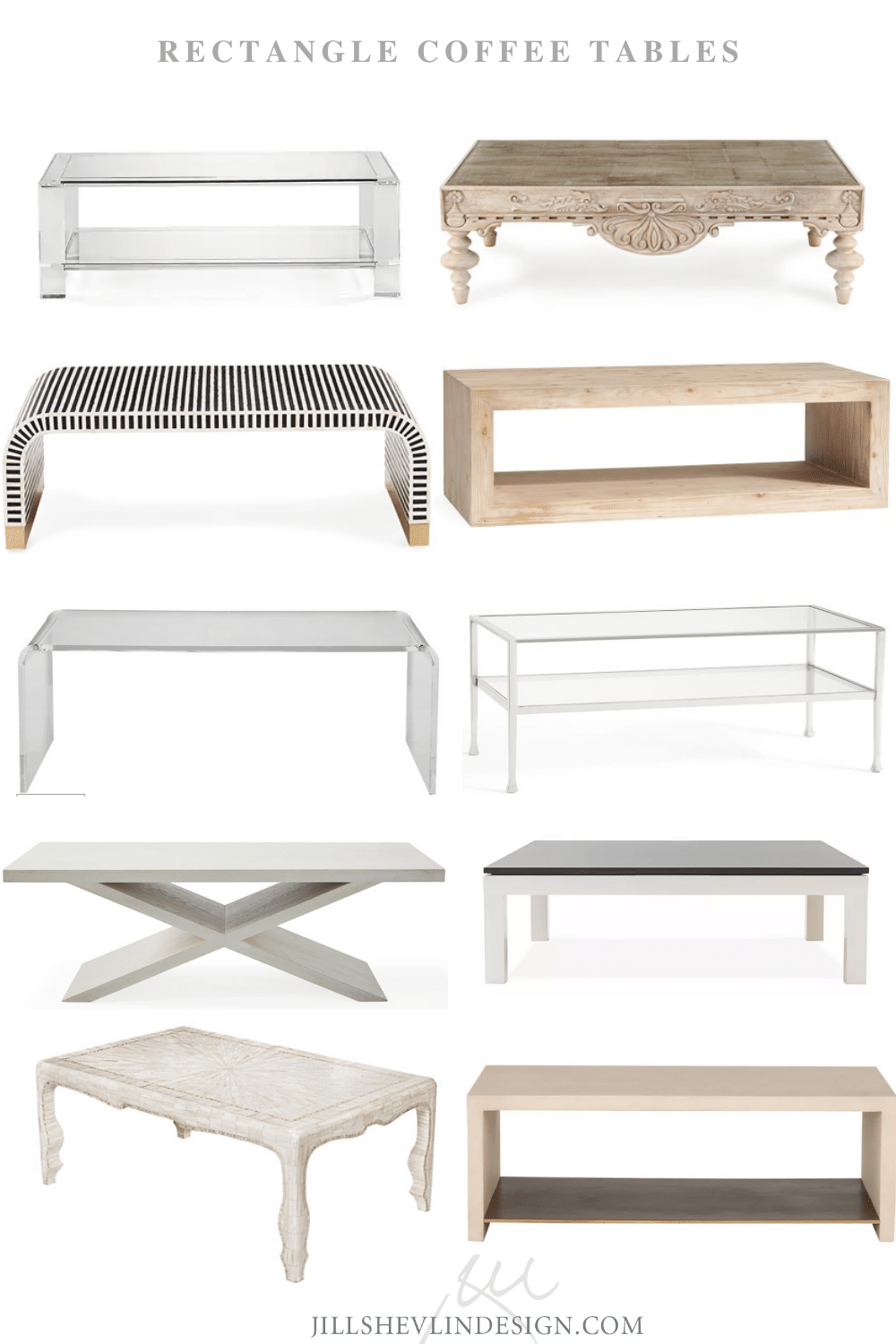 Shop Rectangle Coffee table Vero Beach Designer Jill Shevlin design Home Furniture