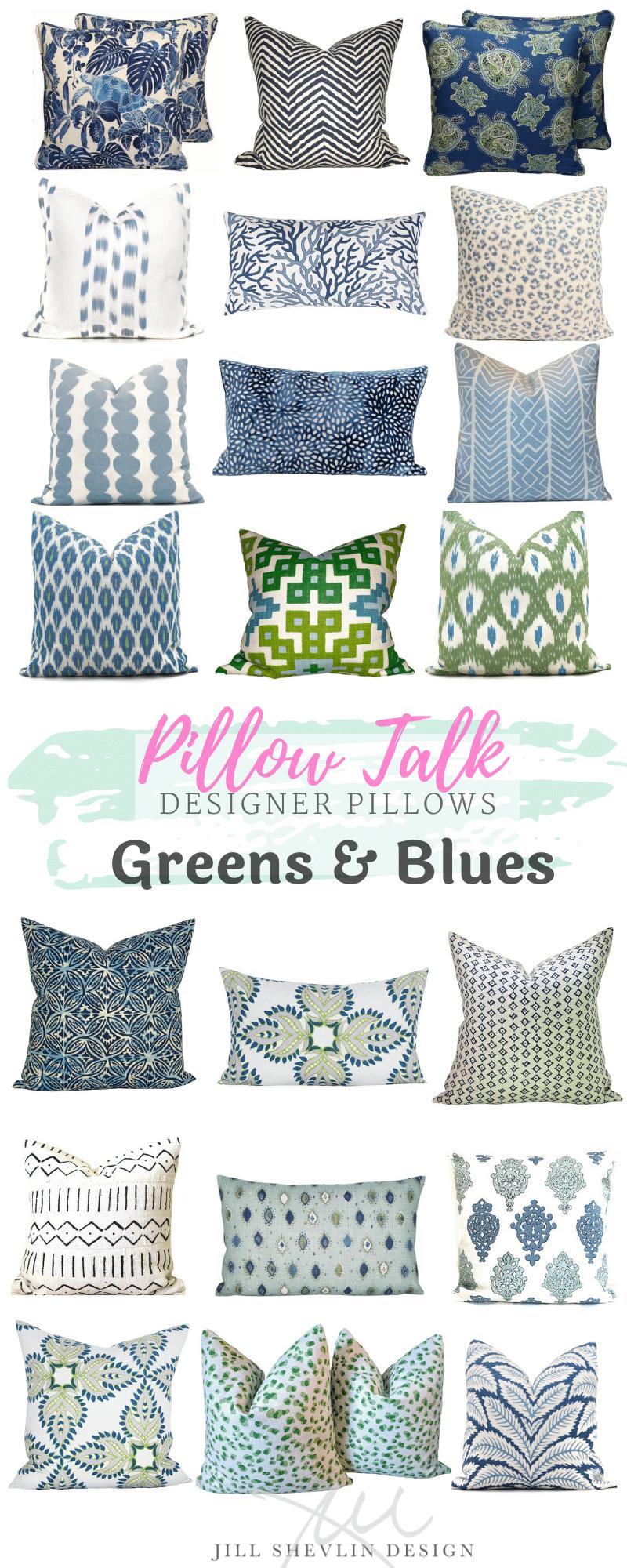 Pillow Talk Green & Blue Jill shevlin Design Vero Beach Interior Designer Vero Beach Home decor