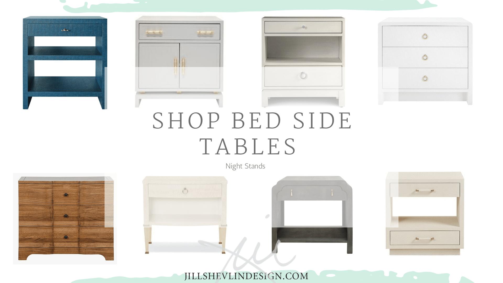 Bed Side Tables, Night Stands, Luxury Bedroom Furnitre Coastal Modern Farmhouse Fresh JillShevlin Design