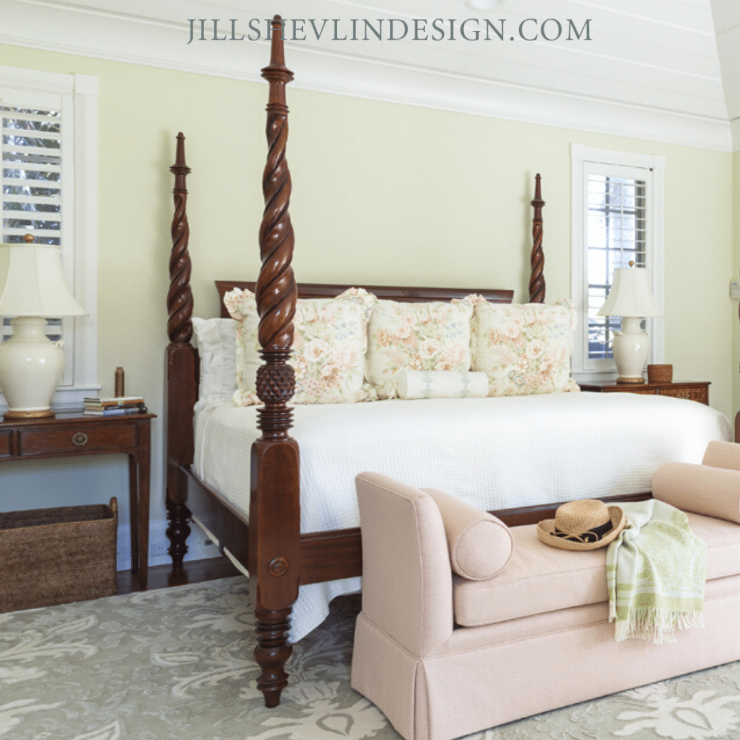 Traditional West Indies in Pink and Green Bedrooom Jill Shevlin Design Vero Beach Interior Designer