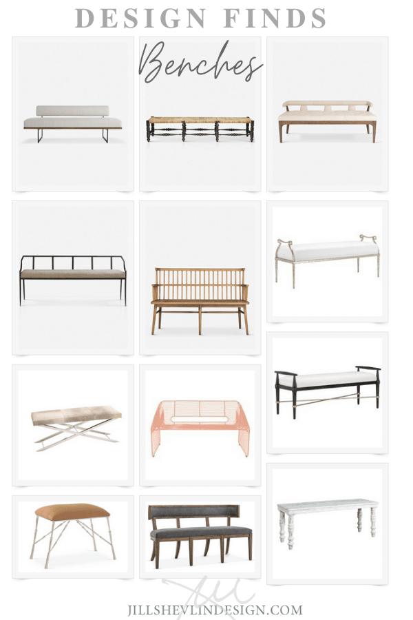 Design Finds Benches Home Furniture JIll Shevlin design Vero Beach