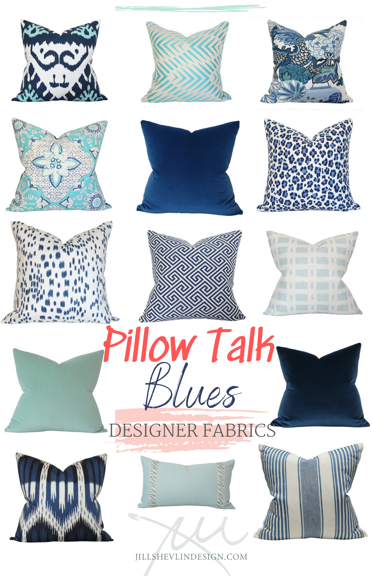 Pillow Talk Blue Desiger Pillows Curated by  Jill Shevln Design Vero Beach Interior Designer Shop Online