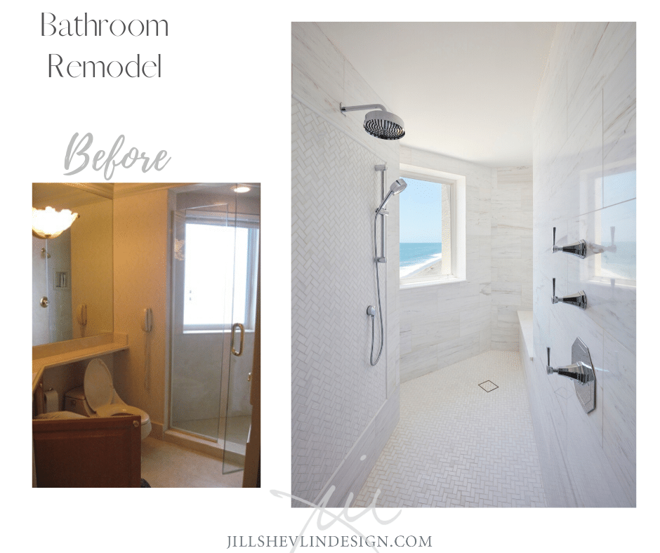 White Marble Shower of a Bathroom Remodel Before and After jill Shevlin Design Vero Beach Interior Designer