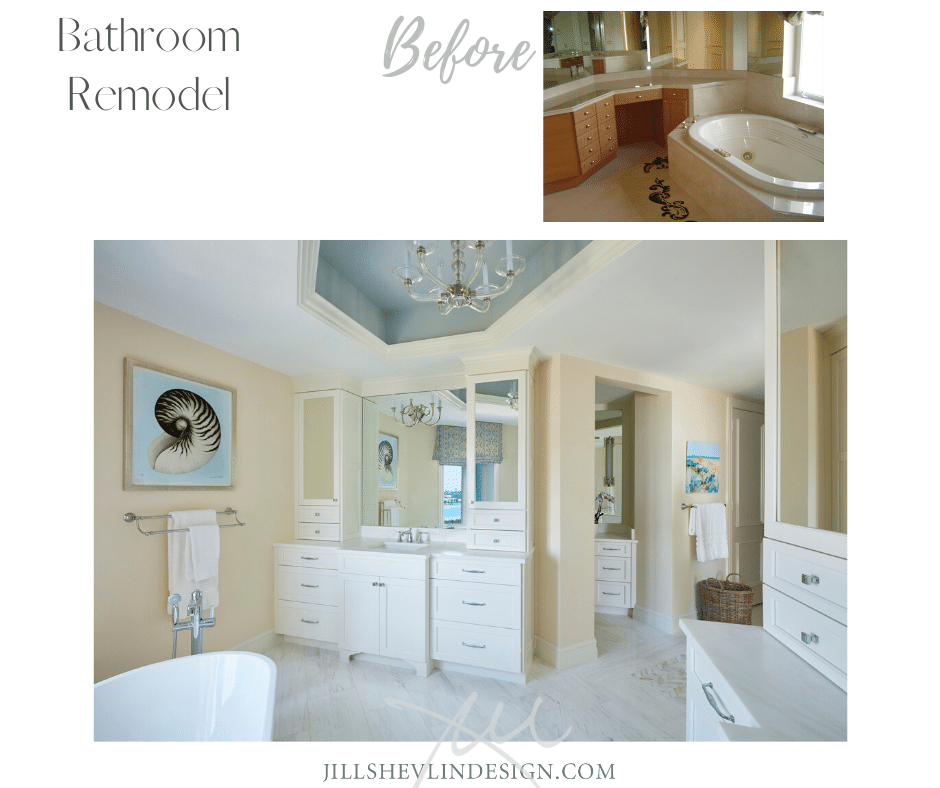 White Marble and Cabinets in a of a Bathroom Remodel Before and After jill Shevlin Design Vero Beach Interior Designer