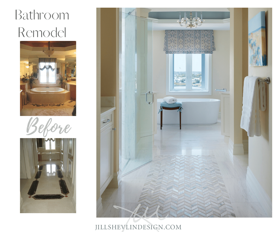 Bathroom Remodel Before and After jill Shevlin Design Vero Beach Interior Designer