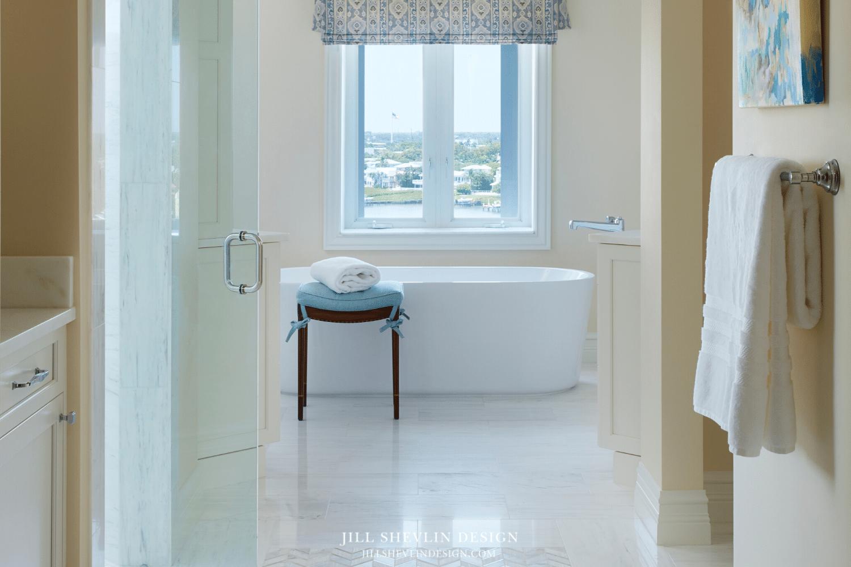 white marble Master Bath Remodel Jill Shelvin Design Jupiter Island freestanding tub