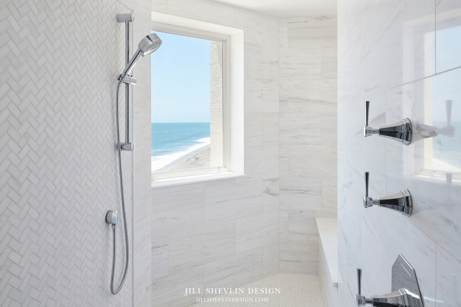 White Marble Shower with Ocean ViewMaster Bath Remodel Jill Shelvin Design Jupiter Island white Marble shower