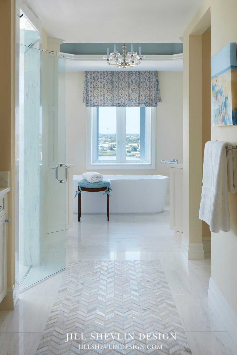 Master Bath Remodel Tub View with Herringbone Marlbe Floor
