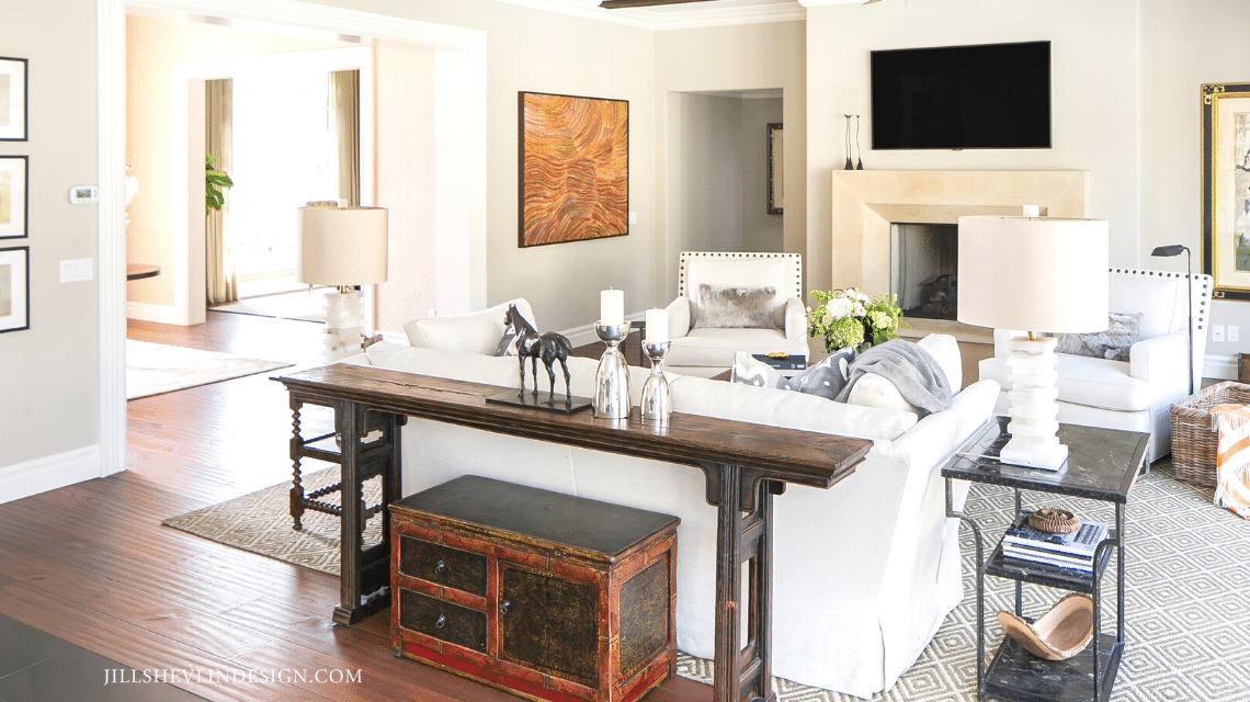 Family Room with Fireplace California Home Remodel by Vero Beach Florida Interior Designer Jill Shevlin Design