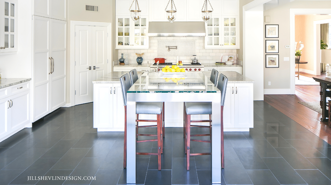 White Kitchen with Custom Stainless steel and glass island table California Home REmodel by Vero Beach, FLorida Interior Designer Jill Shevlin Design