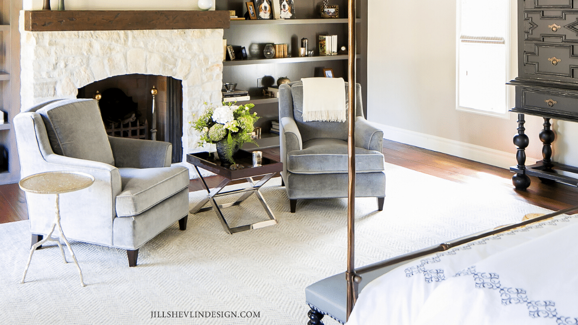 Master Bedroom Seating Area of a California Home Remodeled by Vero Beach FLorida Interior Designer Jill Shevlin Design