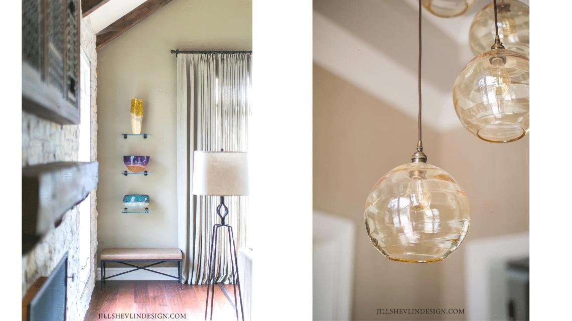 Art Glass Collection in a California Living Room designed by Vero Beach , Florida Interior Designer Jill Shevlin