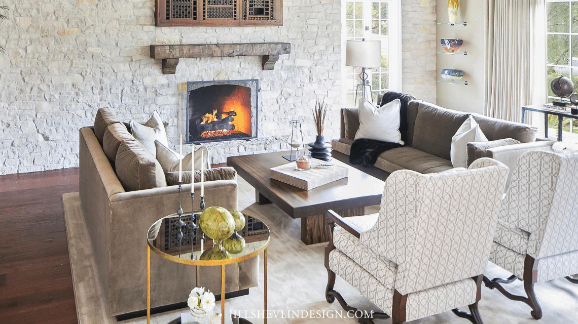 Seating area facing the Firplace in a California Home Remdeled Living Room by Jill Shevlin Design Vero Beach Interior Designer