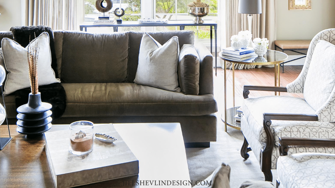 Brown Indoor Outdoor Fabric on sofas in a California Home Remdeled Living Room by Jill Shevlin Design