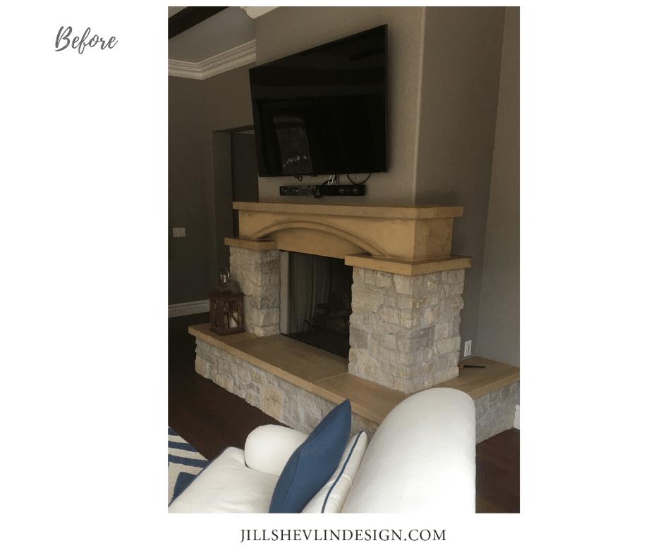 Rancho Santa Fe Remodel Fireplace before Jill Shevlin Design