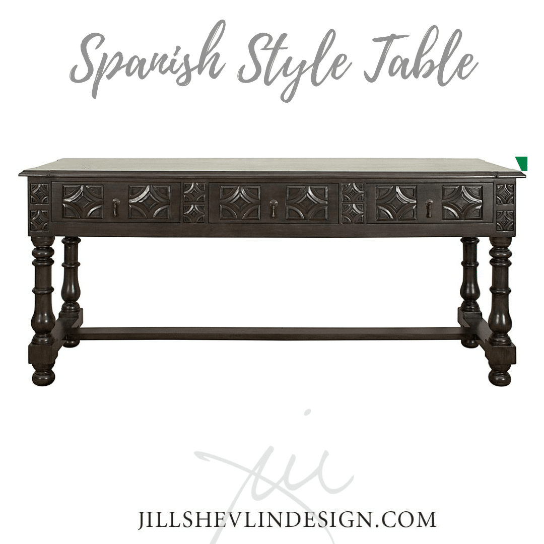 Spanish Style Table in Black Jill Shevlin Design Vero Beach Interior Designer