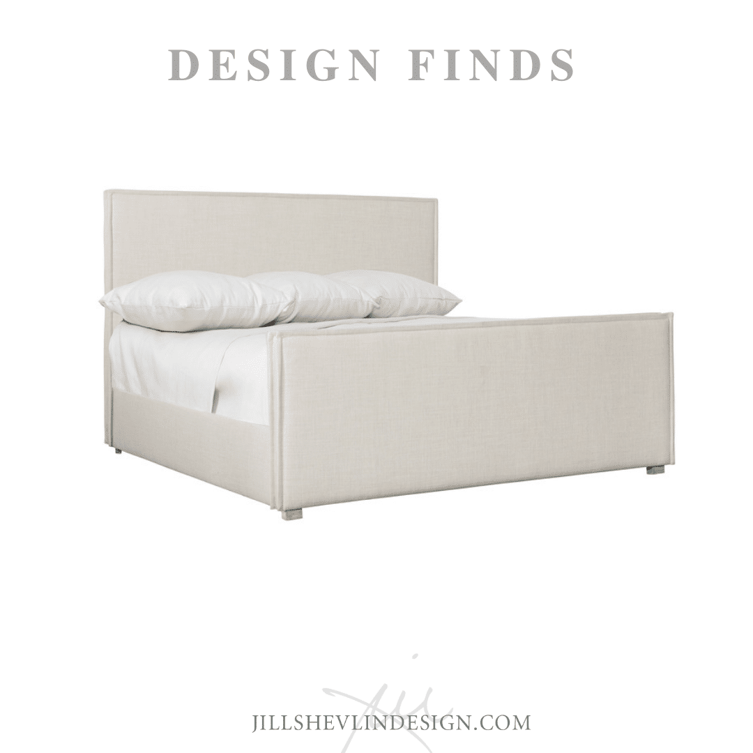 White Panel Bed with slipcovered linen cover modern bedroom jill shevlin design